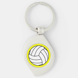 Black/White Volleyball Ball on Yellow Keychain