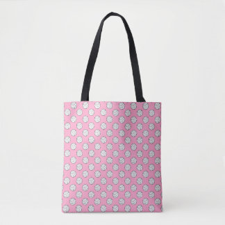 Black White Volleyball Balls on Carnation Pink Tote Bag