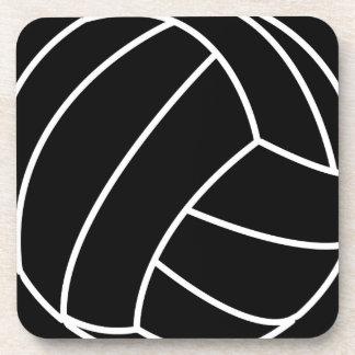 BLACK & WHITE VOLLEYBALL summer sports beach fun Beverage Coaster