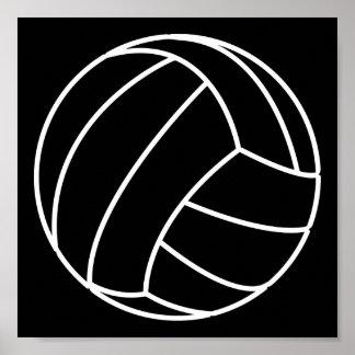 BLACK WHITE VOLLEYBALL summer sports beach fun Print