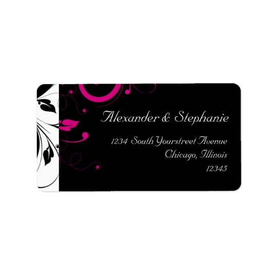Black +White w/Fuchsia Reverse Swirl Wedding Label