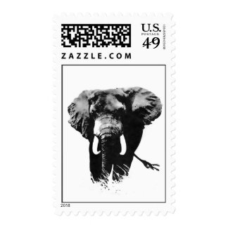 Black White Walking Elephant Stamp