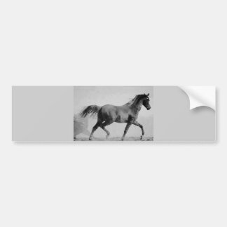 Black & White Walking Horse Car Bumper Sticker