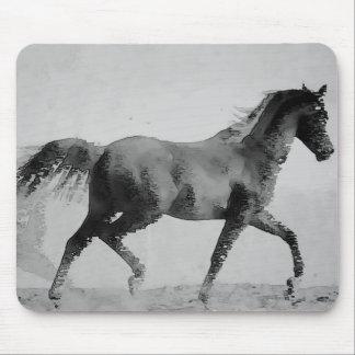 Black & White Walking Horse Mouse Pad