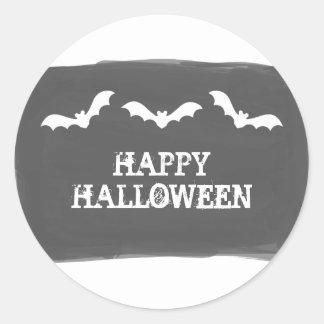 Black White Watercolor Bats Halloween Stickers