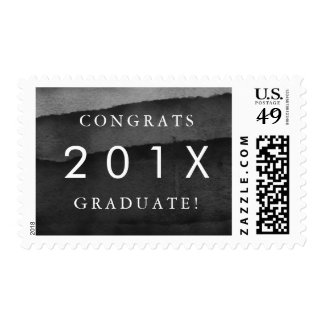 "Black & White Watercolor ""Congrats Graduate"" Postage"