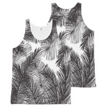 Black white watercolor hand painted palm trees All-Over-Print tank top