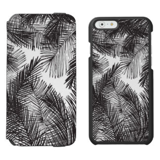 Black white watercolor hand painted palm trees iPhone 6/6s wallet case