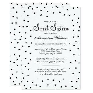 Black white watercolor polka dots Sweet Sixteen Card