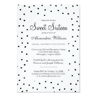Black white watercolor polka dots Sweet Sixteen Card
