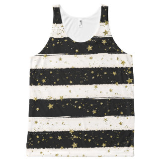 Black White Watercolor Stripes Gold Glitter Stars All-Over-Print Tank Top