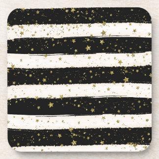 Black White Watercolor Stripes Gold Glitter Stars Coaster