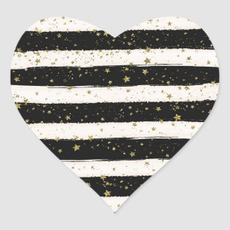 Black White Watercolor Stripes Gold Glitter Stars Heart Sticker