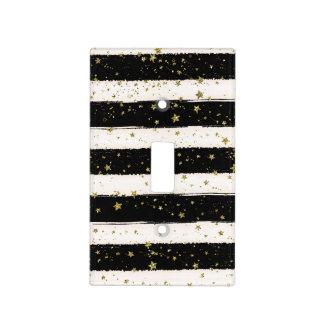 Black White Watercolor Stripes Gold Glitter Stars Light Switch Cover