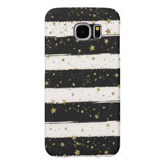 Black White Watercolor Stripes Gold Glitter Stars Samsung Galaxy S6 Cases