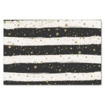 Black White Watercolor Stripes Gold Glitter Stars Tissue Paper