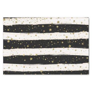peacefuldreams Black White Watercolor Stripes Gold Glitter Stars Tissue Paper
