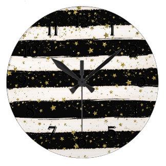 Black White Watercolor Stripes Gold Glittery Stars Large Clock