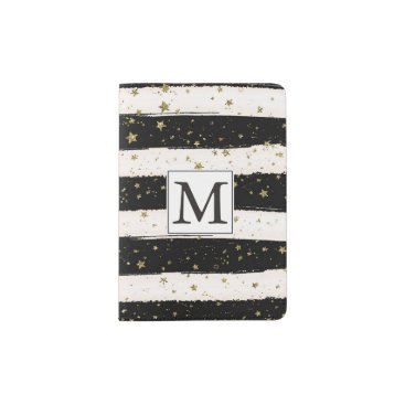peacefuldreams Black White Watercolor Stripes Gold Stars Monogram Passport Holder