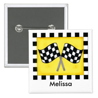 Black White Waving Checkered Flag Name Badge Button