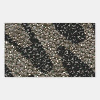 Black & White Wavy Sequin Rectangular Sticker