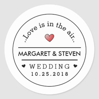 Black White Wedding Custom Names & Date Red Heart Classic Round Sticker