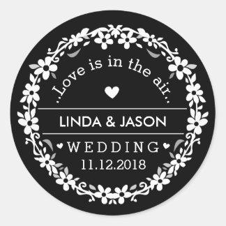 Black & White Wedding Custom Names Love Date Classic Round Sticker