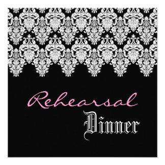 Black White Wedding Damask Lace Rehearsal Dinner Personalized Invitation