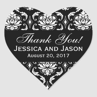 Black White Wedding Damask Thank You Label