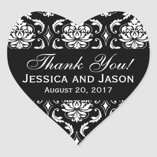 Black White Wedding Damask Thank You Label Heart Stickers
