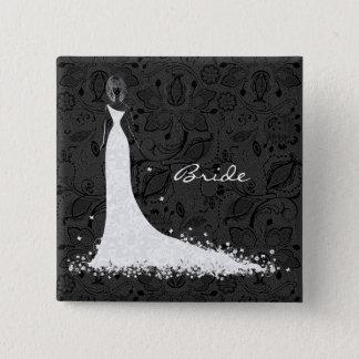 Black & White Wedding Dress & Vintage Lace Button