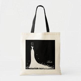 Black & White Wedding Dress & Vintage Lace Tote Bag