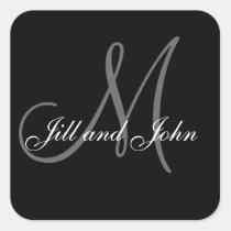 Black White Wedding Favour Stickers Square Shape