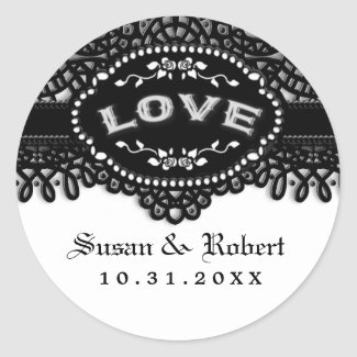 Black & White Wedding Gothic LOVE Envelope Label