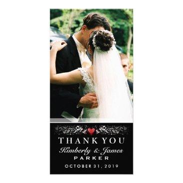 Halloween Themed Black & White Wedding Heart Photo Thank You Card