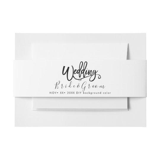 Black White Wedding Invitation Belly Band