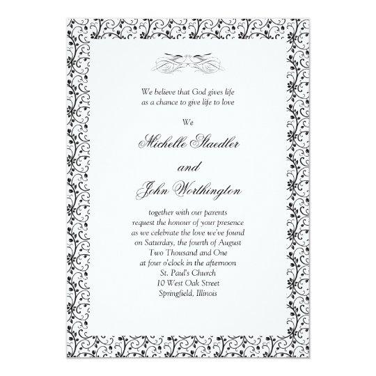 Black & White Wedding Invitation Template