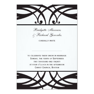 "Black White Wedding Invitations Art Deco 5"" X 7"" Invitation Card"