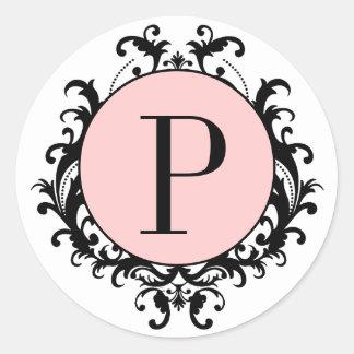 Black White Wedding Monogram P Damask Pink Label Sticker