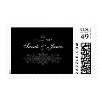 Black White Wedding Names Date Postage Stamps