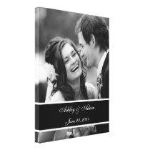 Black White Wedding Photo Personalized Canvas Print