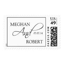 Black White Wedding Postage Stamps Names