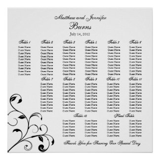 Black & White Wedding Reception Seating Chart Poster