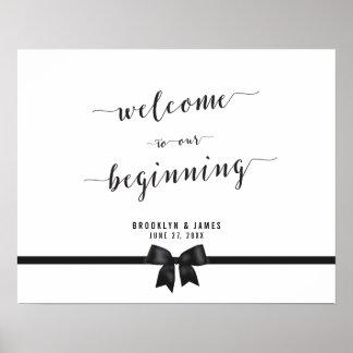Black White Wedding Reception Sign Print 20x16