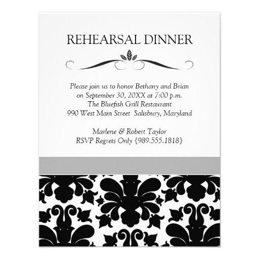 Black & White Wedding Rehearsal Dinner Invitations
