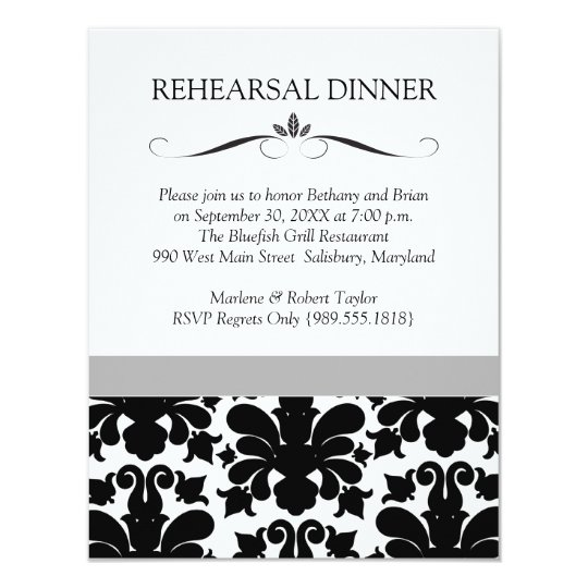 Black & White Wedding Rehearsal Dinner Invitations