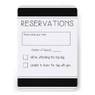 Black & White Wedding Reply Card