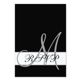 Black White Wedding RSVP Card with Monogram Invitations