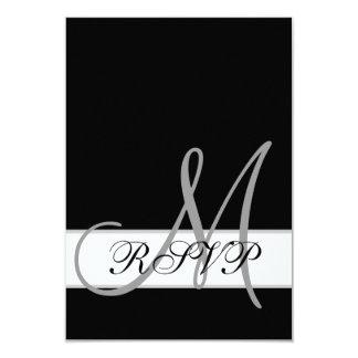 "Black White Wedding RSVP Card with Monogram 3.5"" X 5"" Invitation Card"
