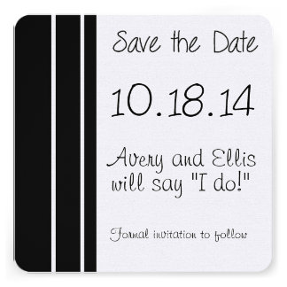 Black & White Wedding Save the Date Announcement